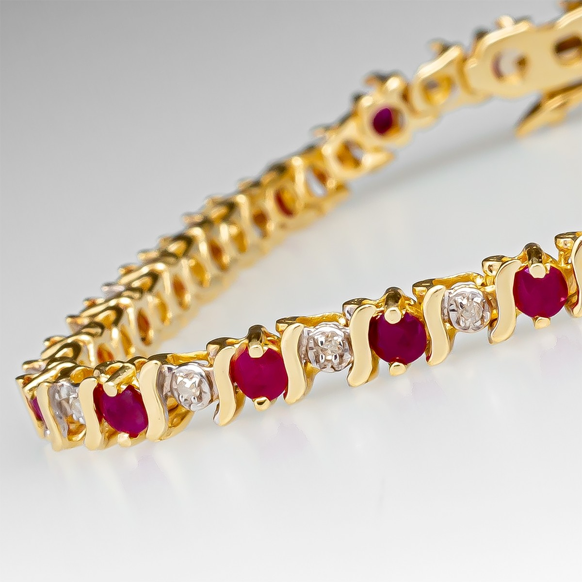 Details about  /14K Yellow Gold Filled Amethyst Diamond S-Link Tennis Bracelet