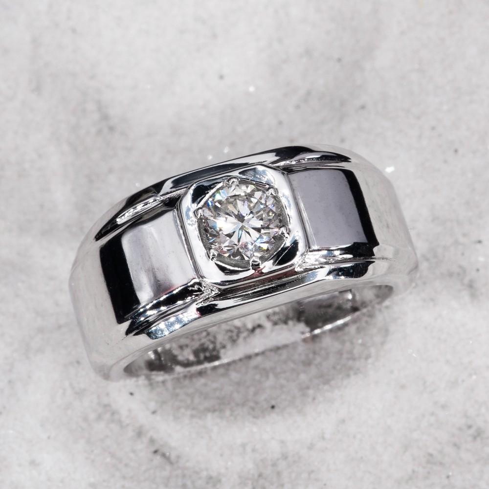 fca921694ef34 Mens Wide Band Diamond Ring 14K White Gold