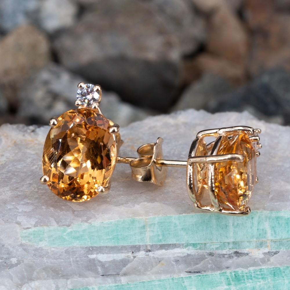 Golden Topaz Diamond Stud Earrings 14k Yellow Gold