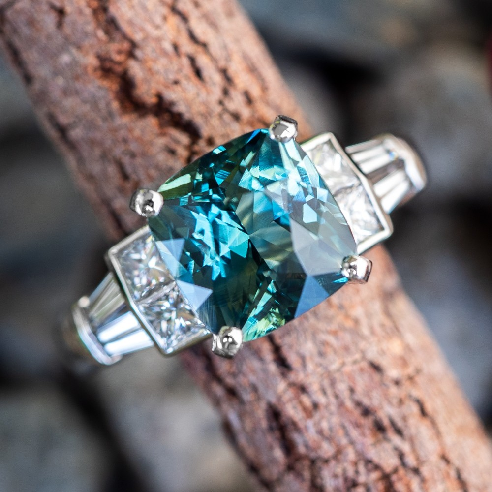 5 Carat Cushion Cut Icy Blue Green Sapphire Engagement Ring