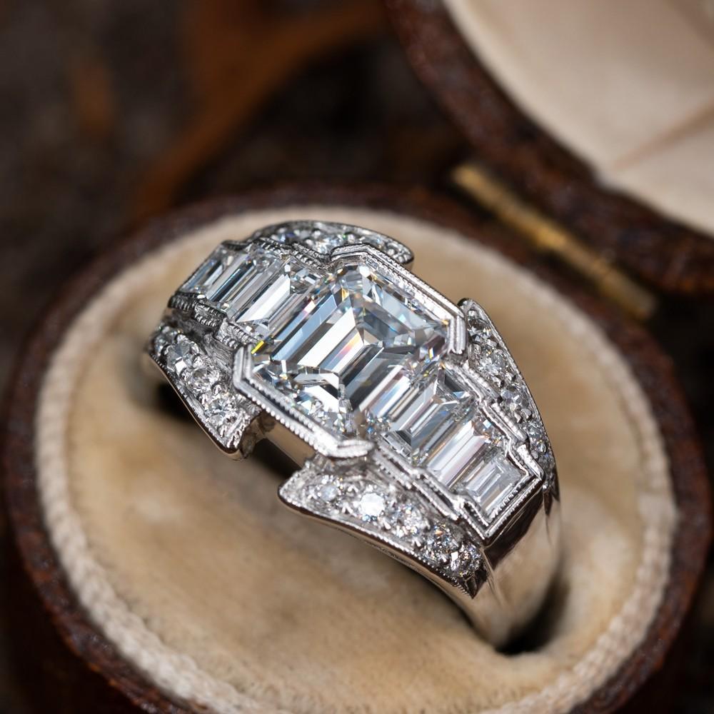 Unique Emerald Cut Diamond Wide Band Ring Platinum 1 11ct D Vs2 Gia