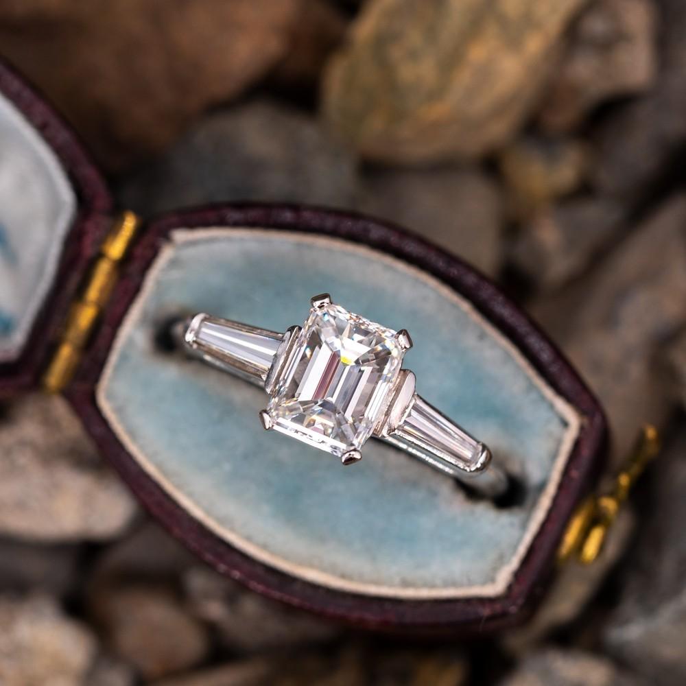 d9b31af29d90c Emerald Cut Diamond Engagement Ring w/ Baguettes 1.14ct E/VS1 GIA