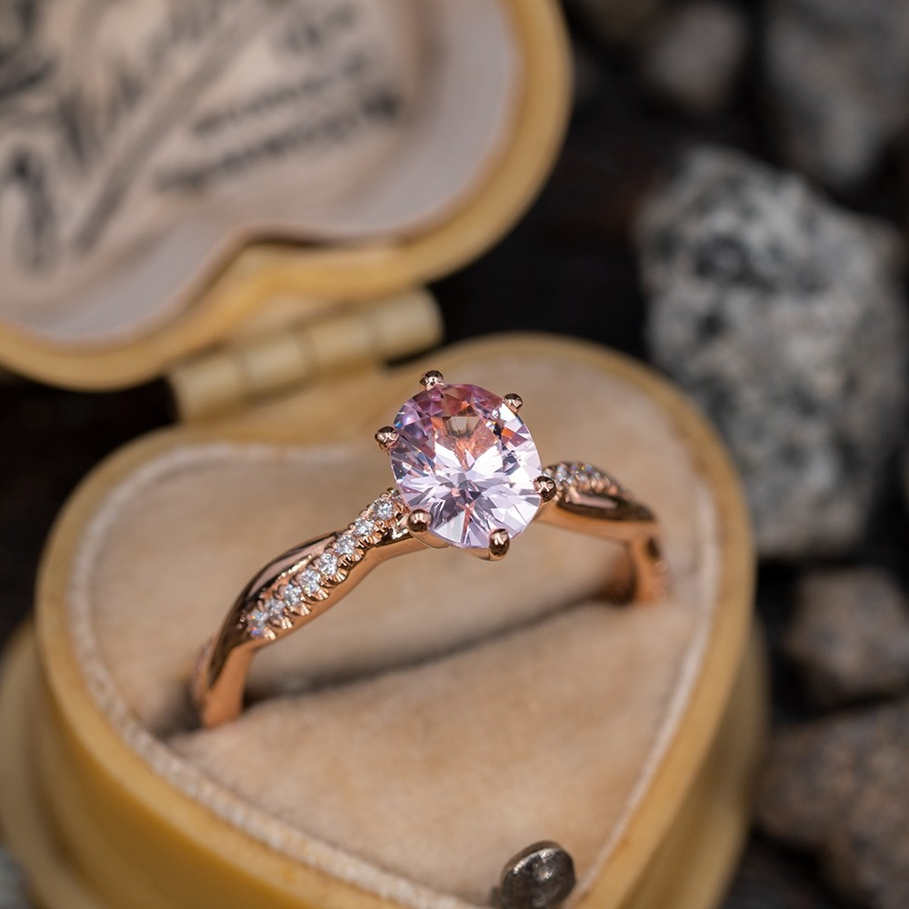 Icy Pale Pink Sapphire Engagement Ring 14k Rose Gold 95ct No Heat