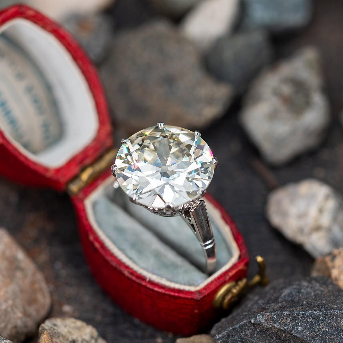 Magnificent 8 Carat Old European Cut Diamond Engagement Ring