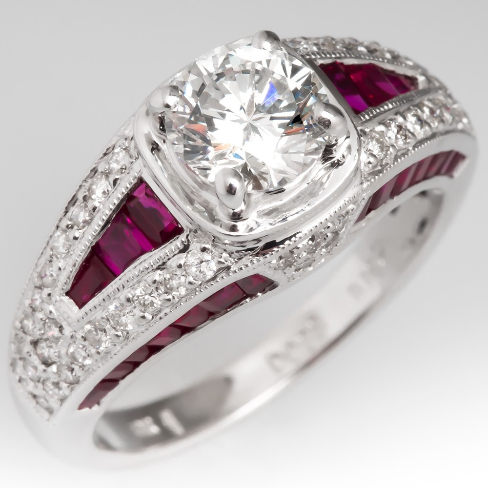 1 Carat Diamond & Ruby Engagement Ring 18K White Gold