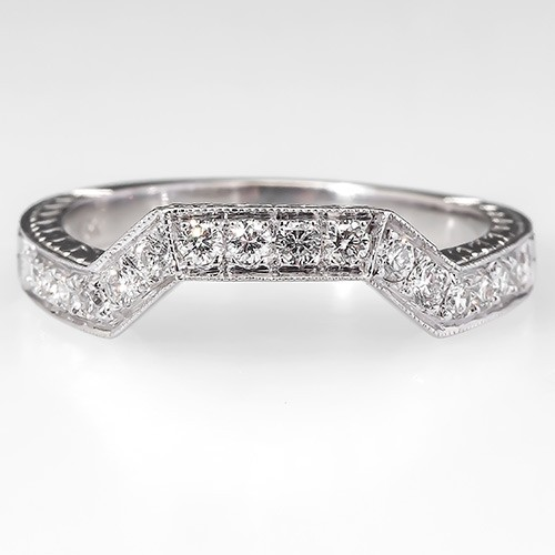 Genuine Diamond Wedding Band Ring Guard Engraved Solid 18K White Gold