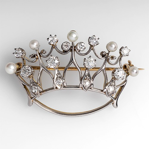 Antique Crown Brooch Pin