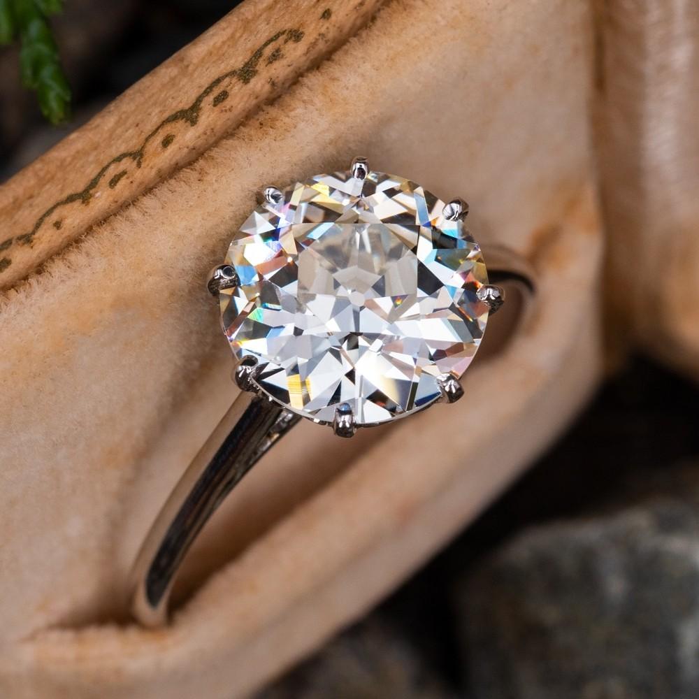 Antique Engagement Ring 3 Carat Diamond Solitaire Platinum 3 17ct M Vs2 Gia