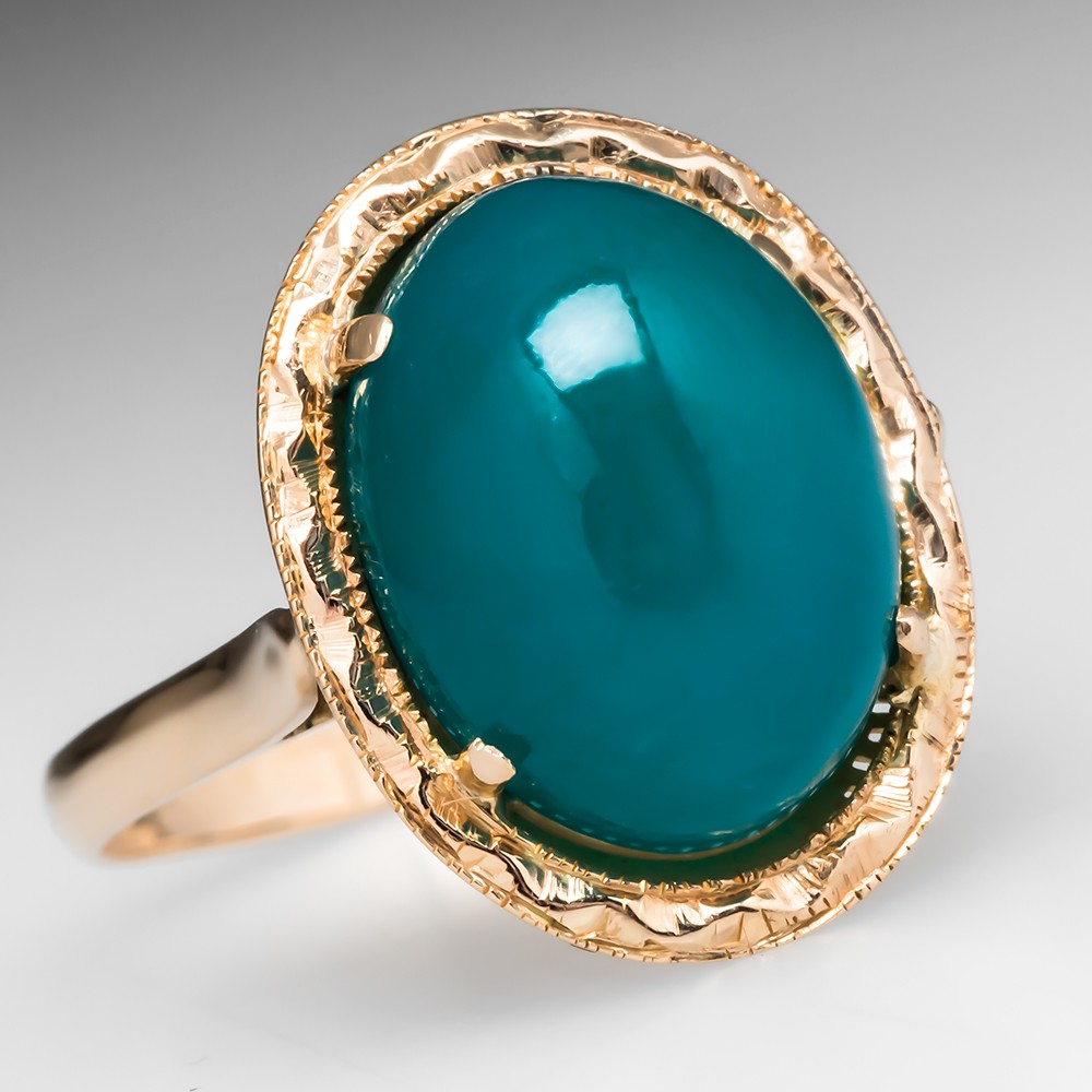 Antique Green Agate Ring