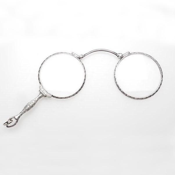 Art Deco Antique Lorgnette Eye Glasses Solid Platinum & Diamonds