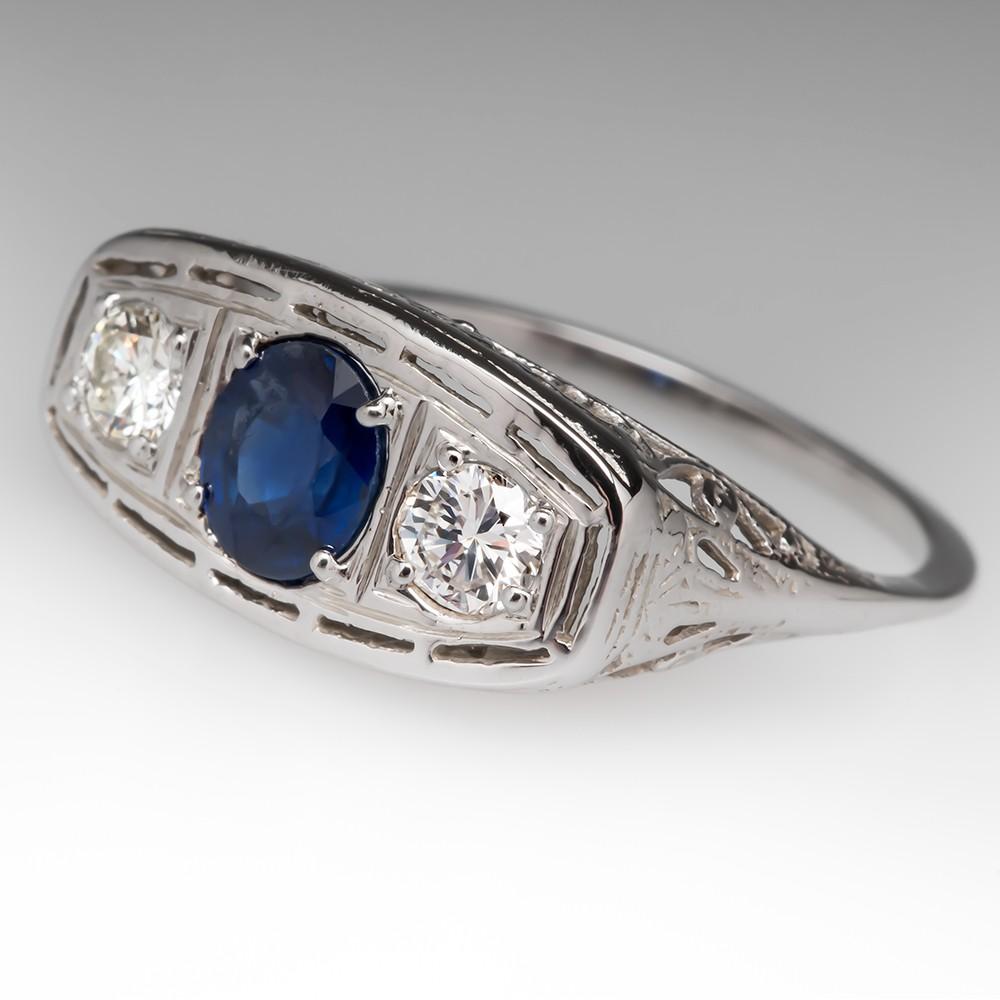 Vintage Filigree Sapphire Diamond Ring 14K