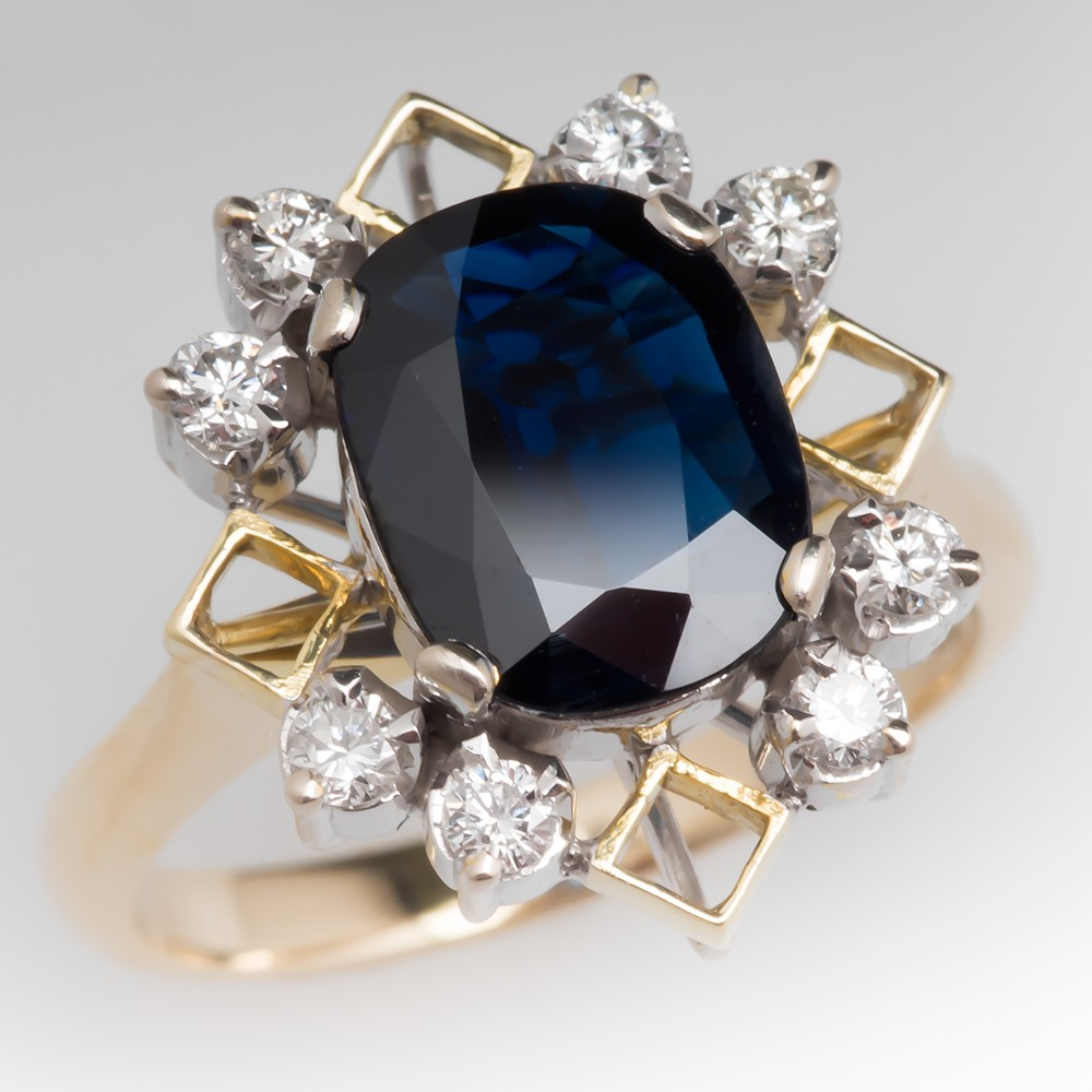 3 Carat Dark Blue Sapphire & Diamond Cocktail Ring 18K Gold
