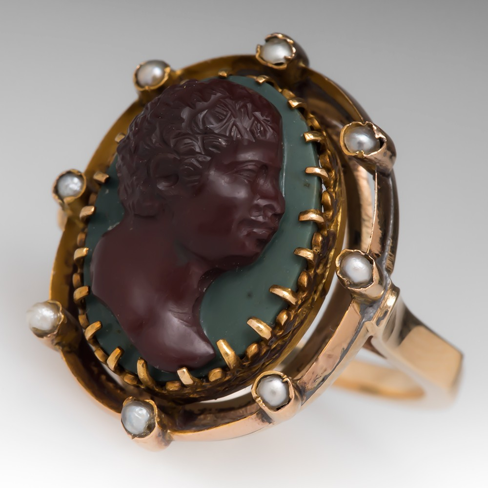Antique Hand Carved Cameo Ring w/ Seed Pearls