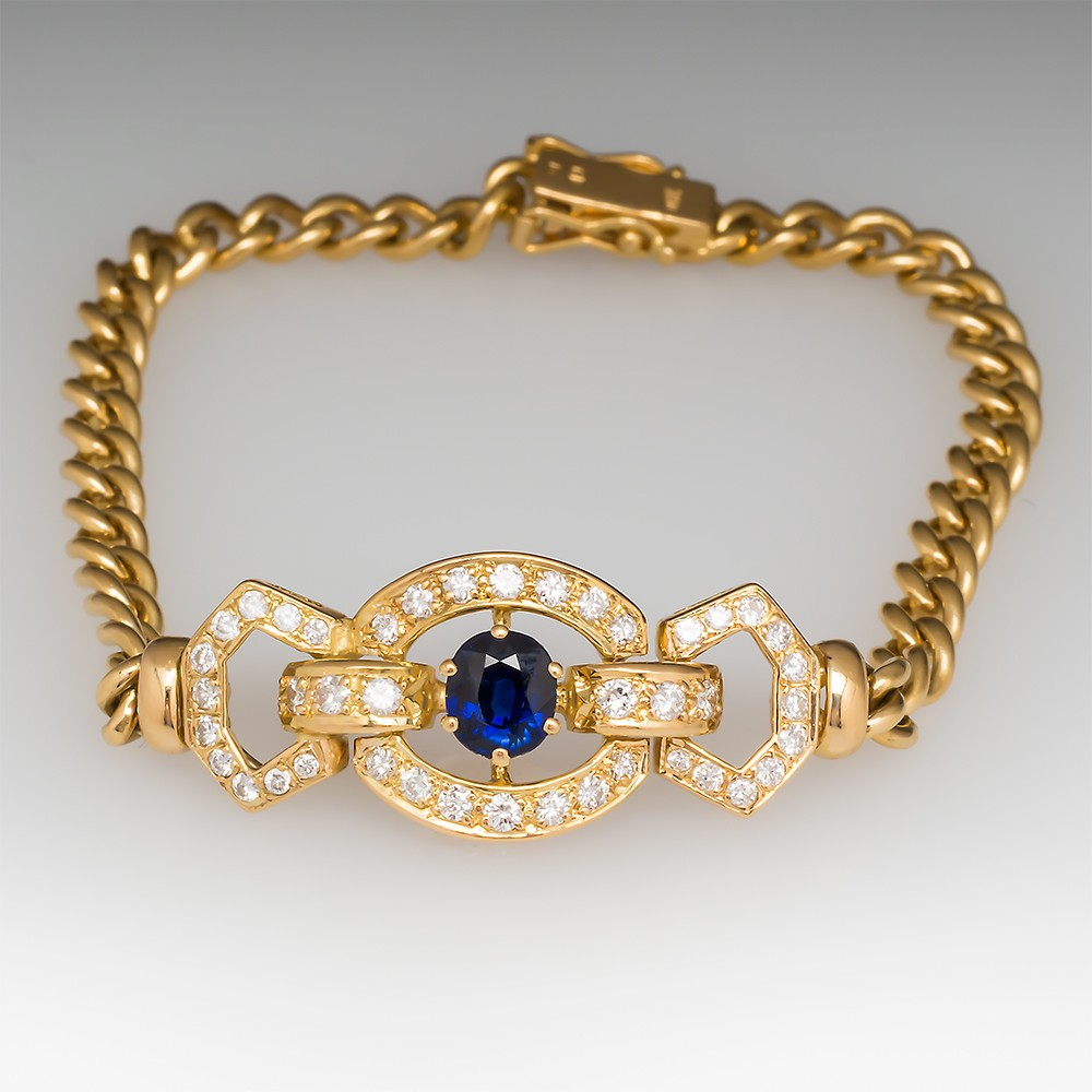 Blue Sapphire & Diamond 18K Bracelet
