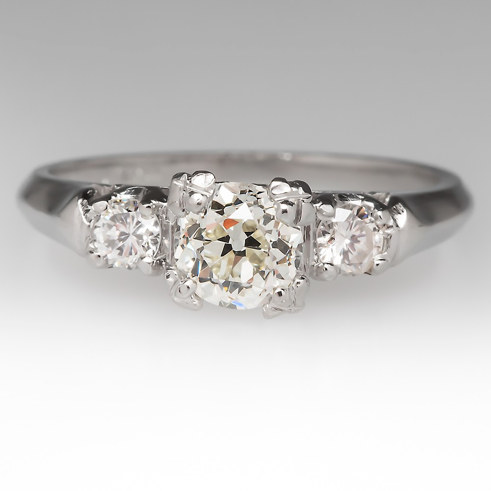 1/2 Carat Old Euro Diamond Vintage Ring in Platinum