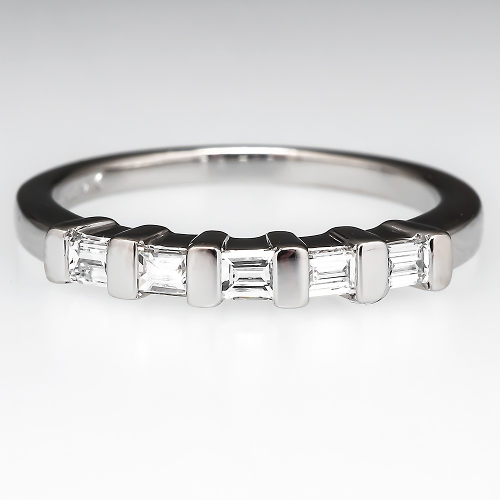 Emerald Cut Diamond Wedding Band Ring Platinum