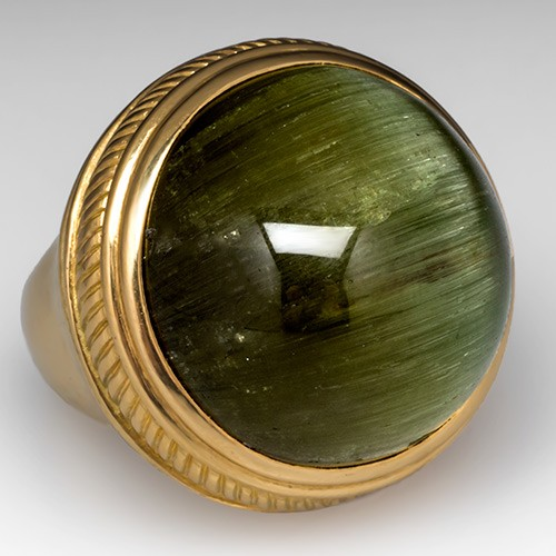 Museum Size Cats Eye Green Tourmaline Ring