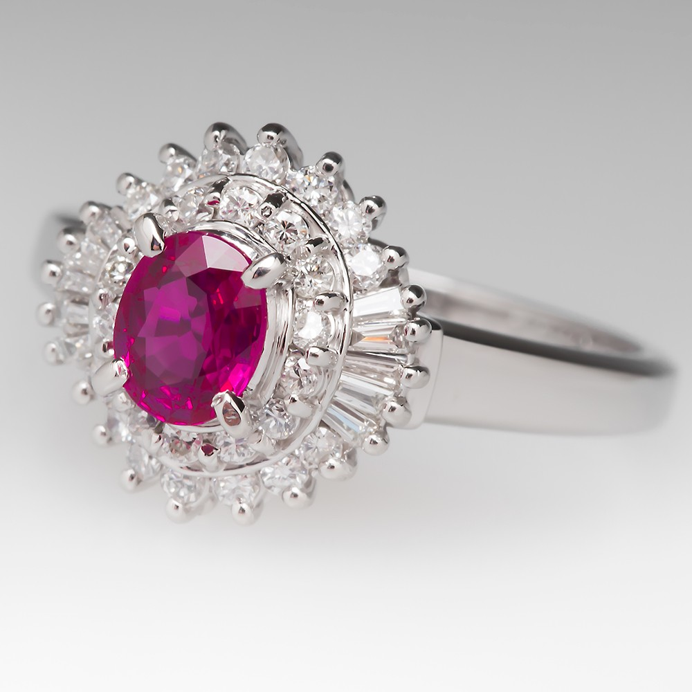 Platinum Ruby Diamond Halo Ring