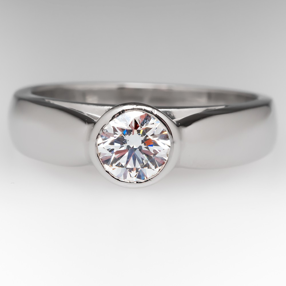 AGS Certified Triple Ideal .60 Carat G/VS2 Diamond Bezel Ring