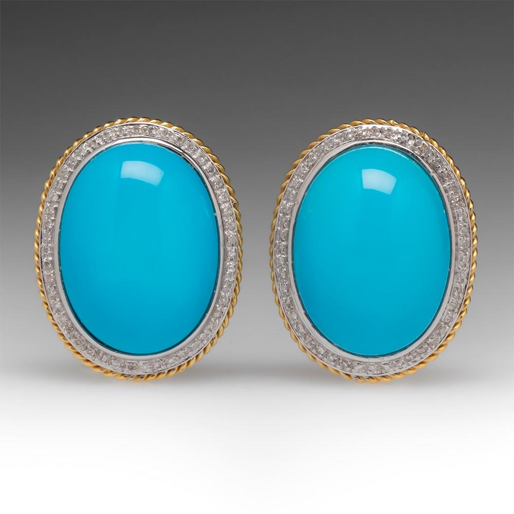Robin's Egg Blue Reconstituted Turquoise & Diamond Earrings 18K