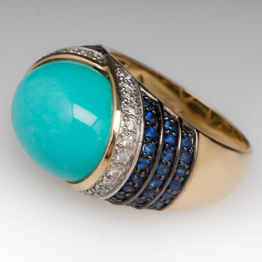 Diamond Ring With Turquoise Accents