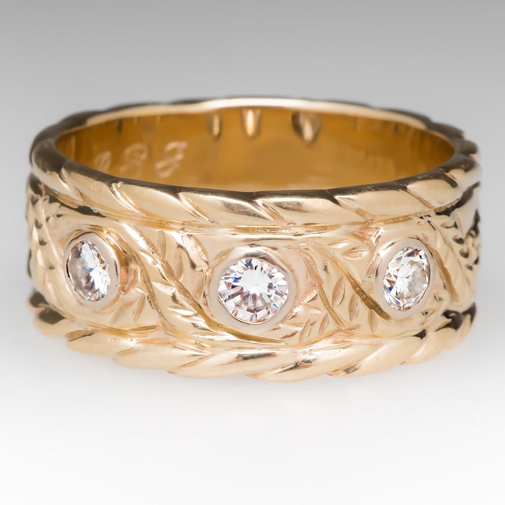 Mens Wide Band Diamond Ring Floral Engravings 14K