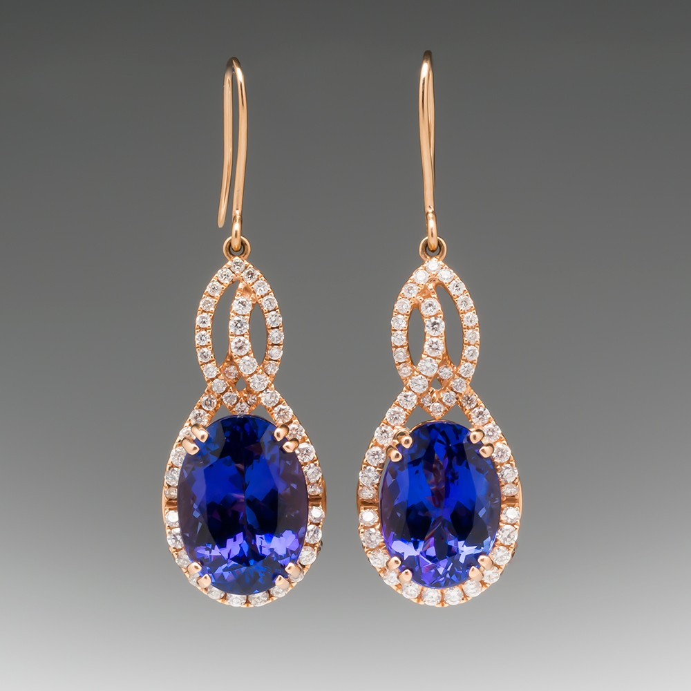 LeVian Oval Tanzanite & Diamond Earrings 18K Rose Gold