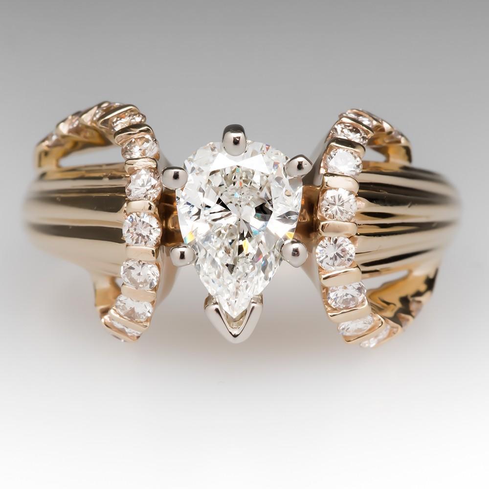 Pear Cut Diamond 14K Yellow Gold Vintage Ring
