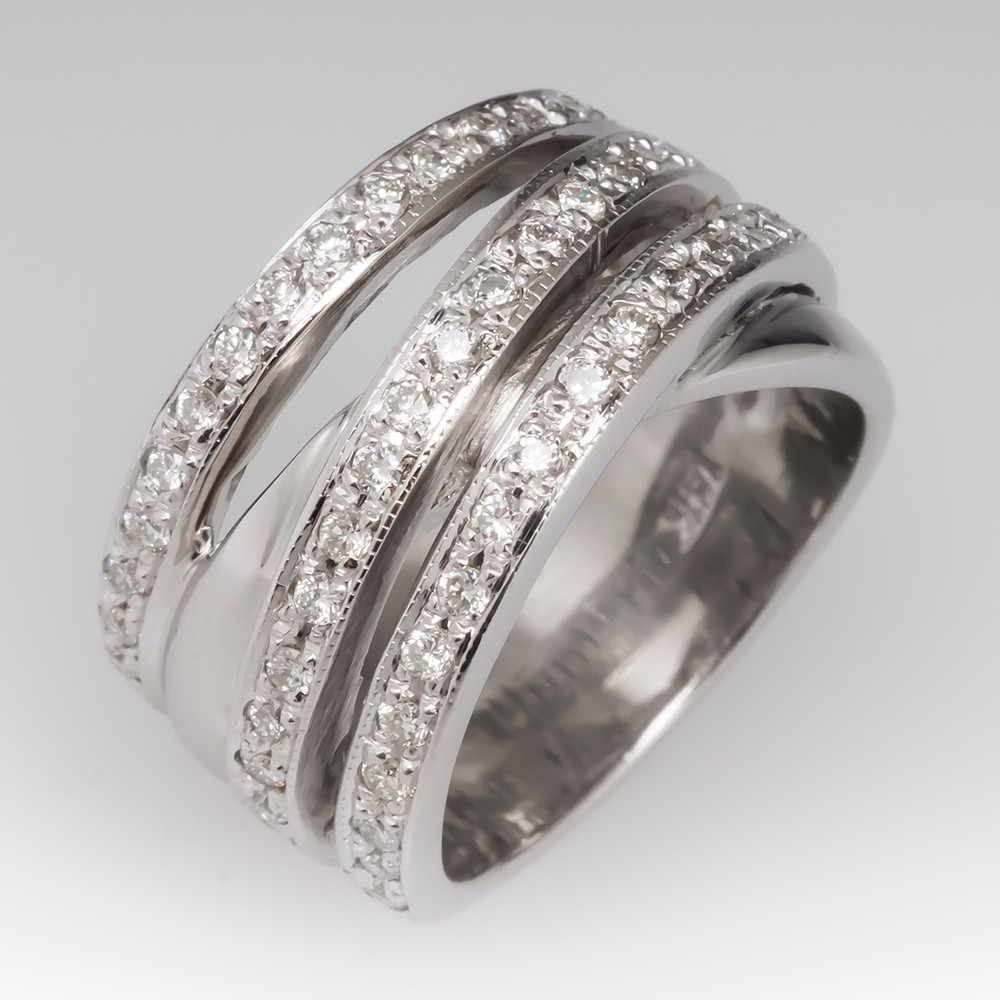 Ladies Wide Band Diamond Ring 14K White Gold