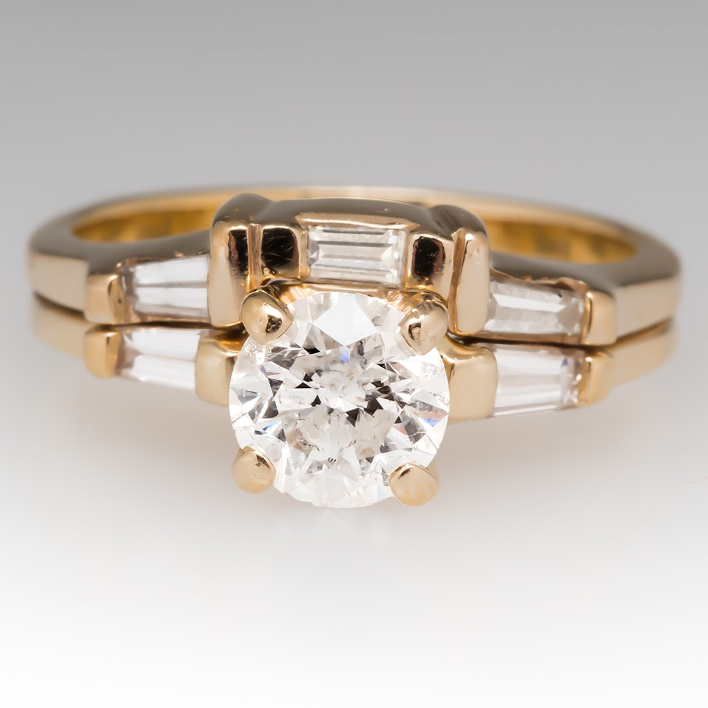 Round Brilliant and Baguette Diamond 14K Yellow Gold Wedding Set