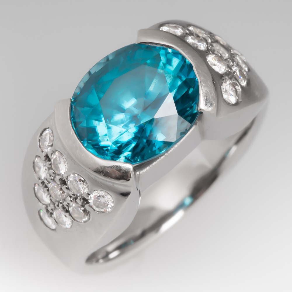 Blue Zircon Cocktail Ring Diamond 18K White Gold