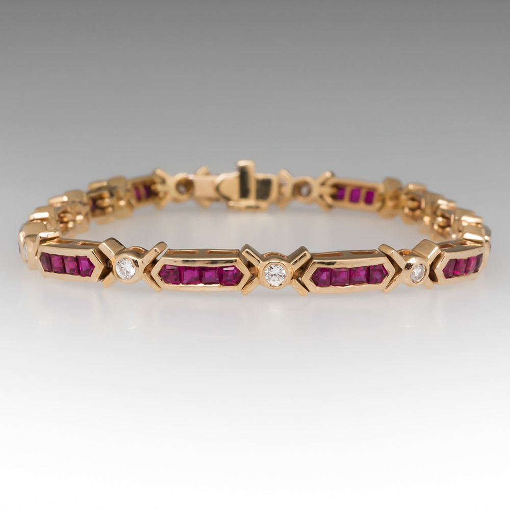 Vibrant Ruby & Diamond Link Bracelet 14K Gold 7 1/4""
