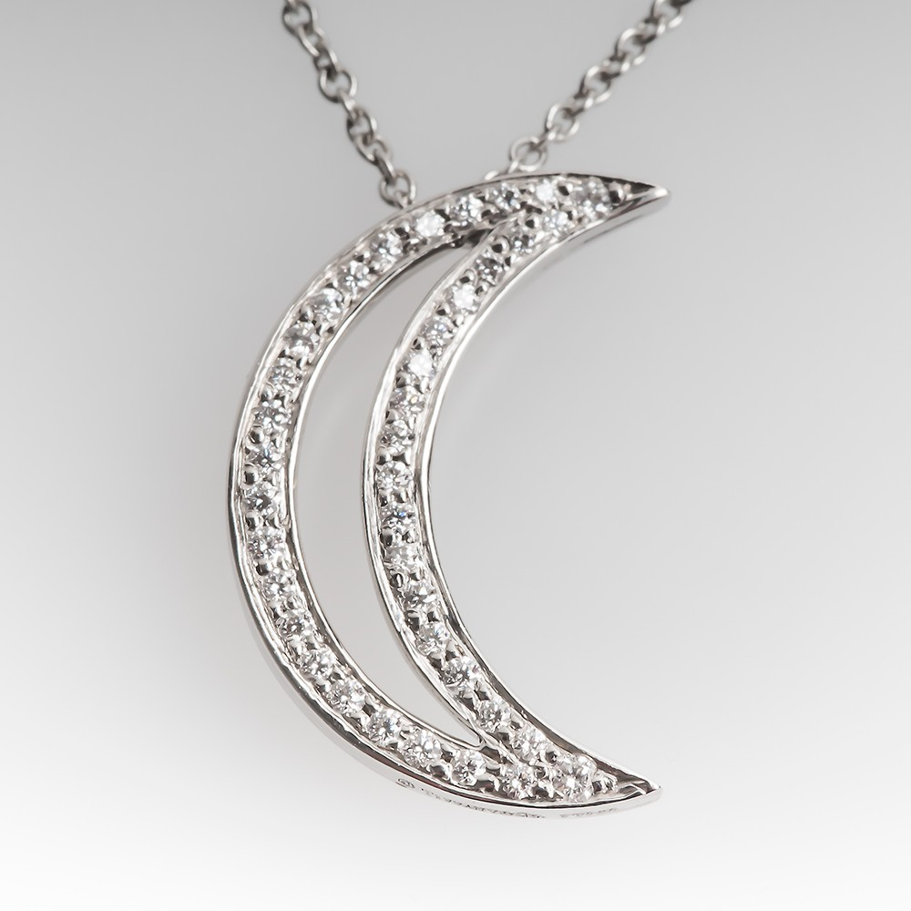 Tiffany & Co. Moon Pendant Platinum Diamonds, Retail $2750