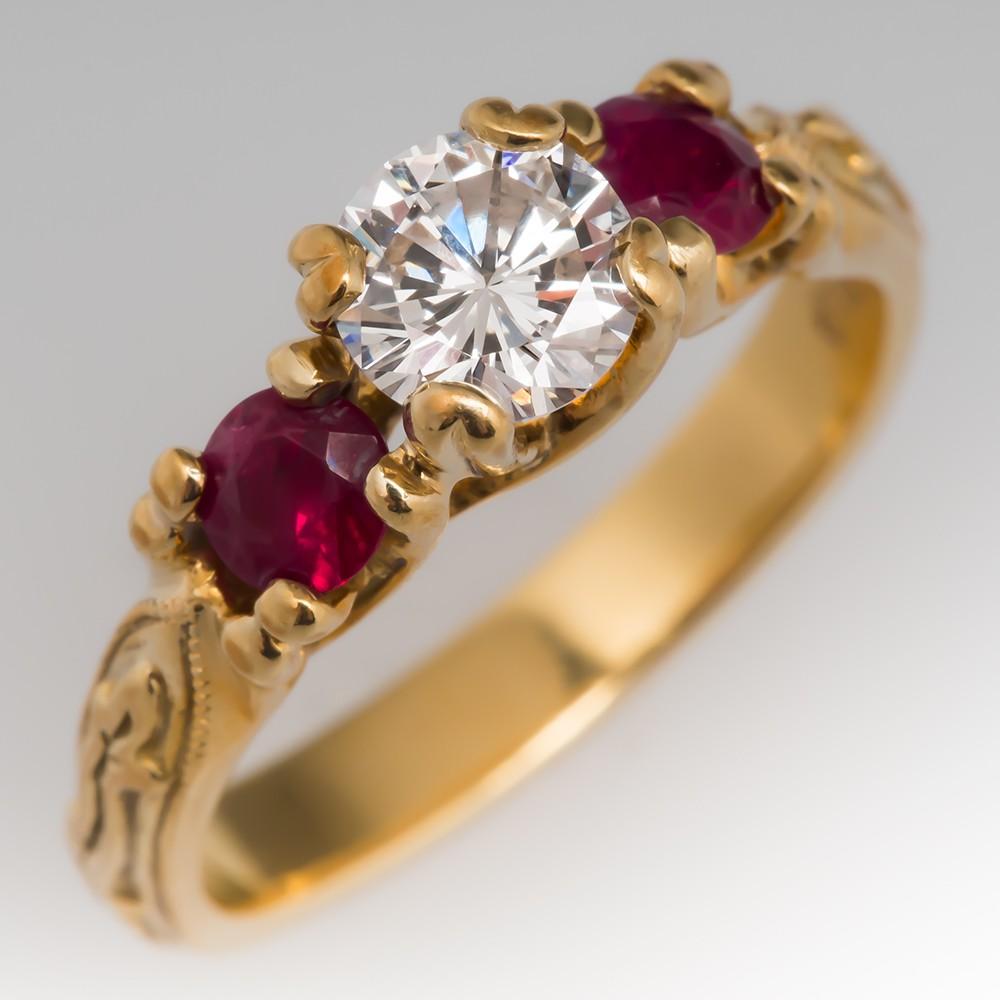 18K Yellow Gold Diamond & Ruby Three Stone Ring
