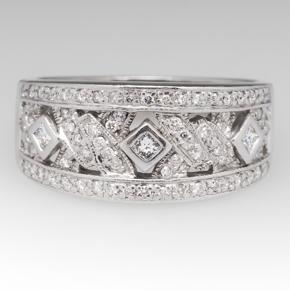 Wide Band Low Profile Diamond Ring Platinum