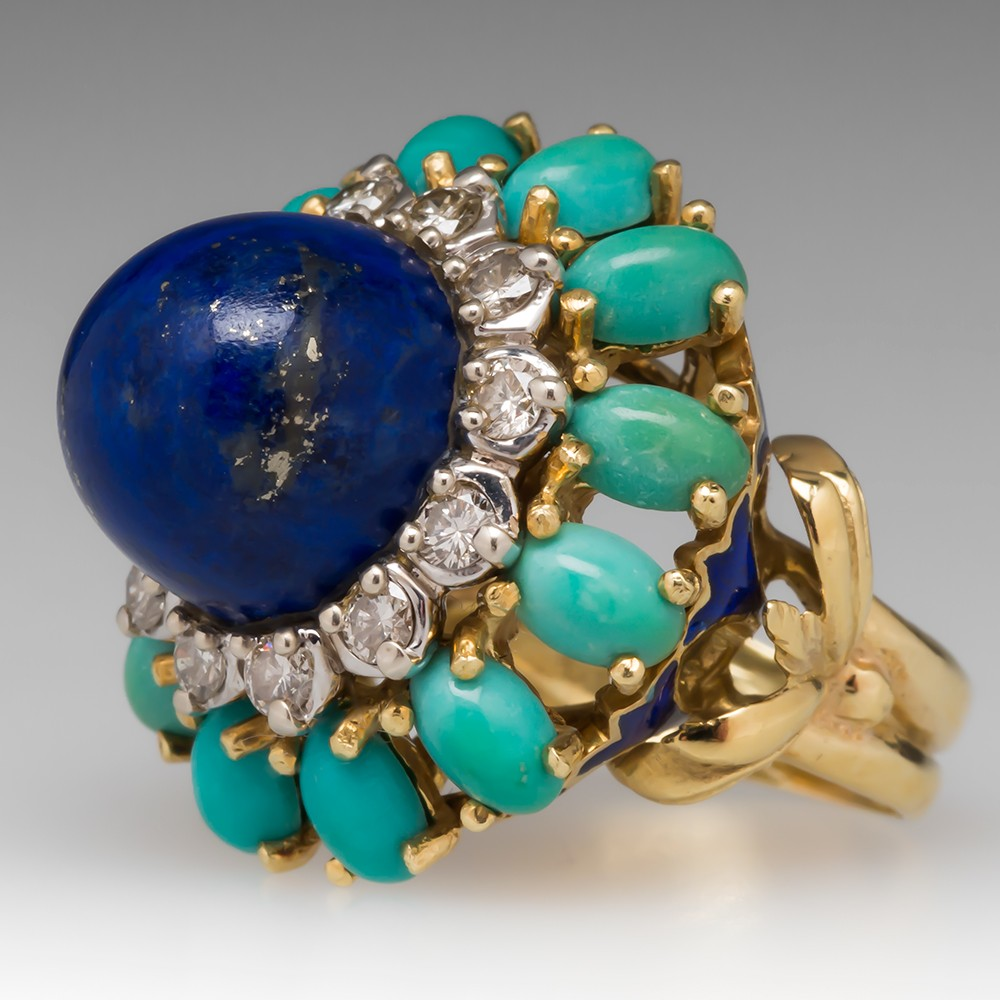 1970's Lapis Diamond & Turquoise Cocktail Ring 18K
