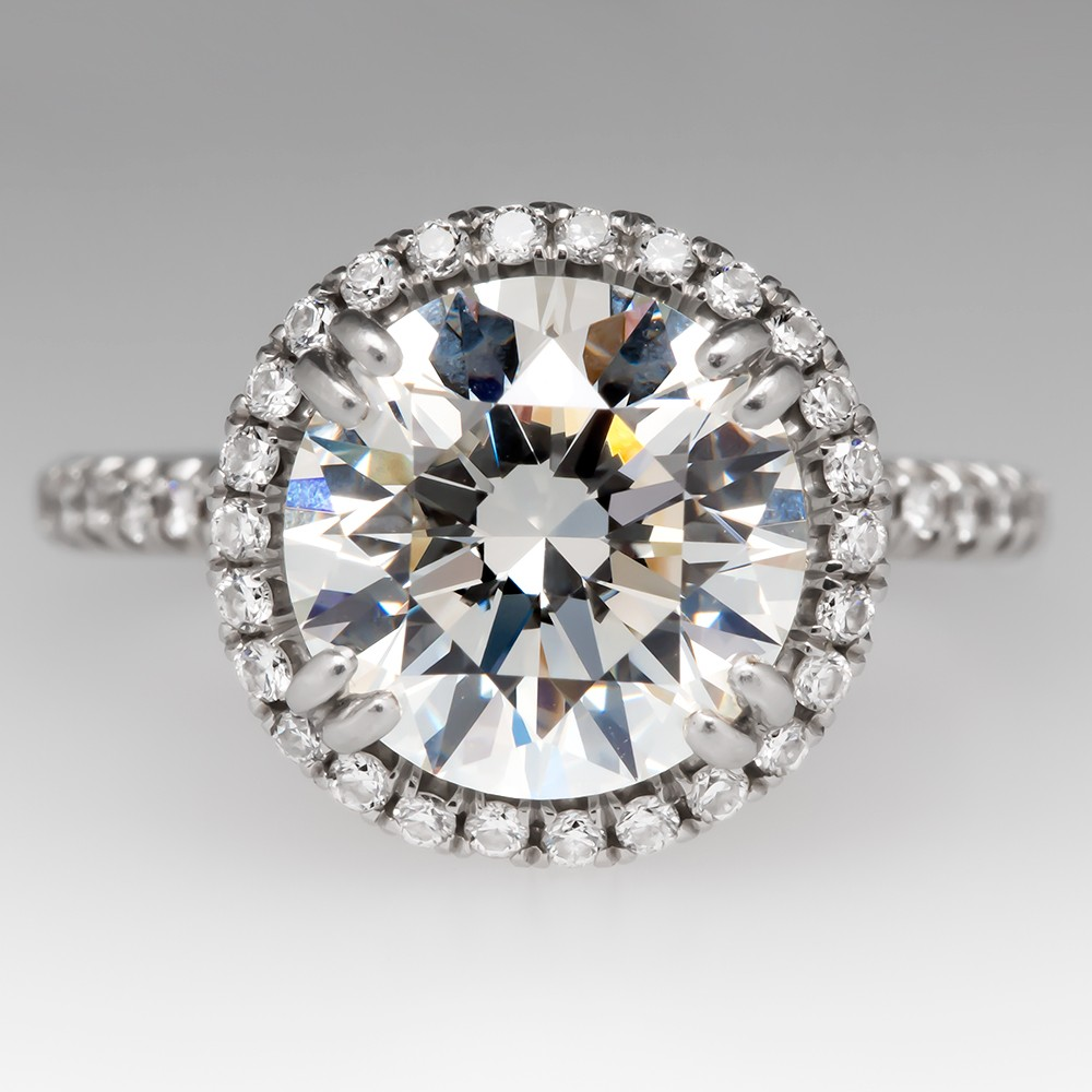Modern Halo Diamond Engagement Ring 2.63 CT GIA G/IF Platinum