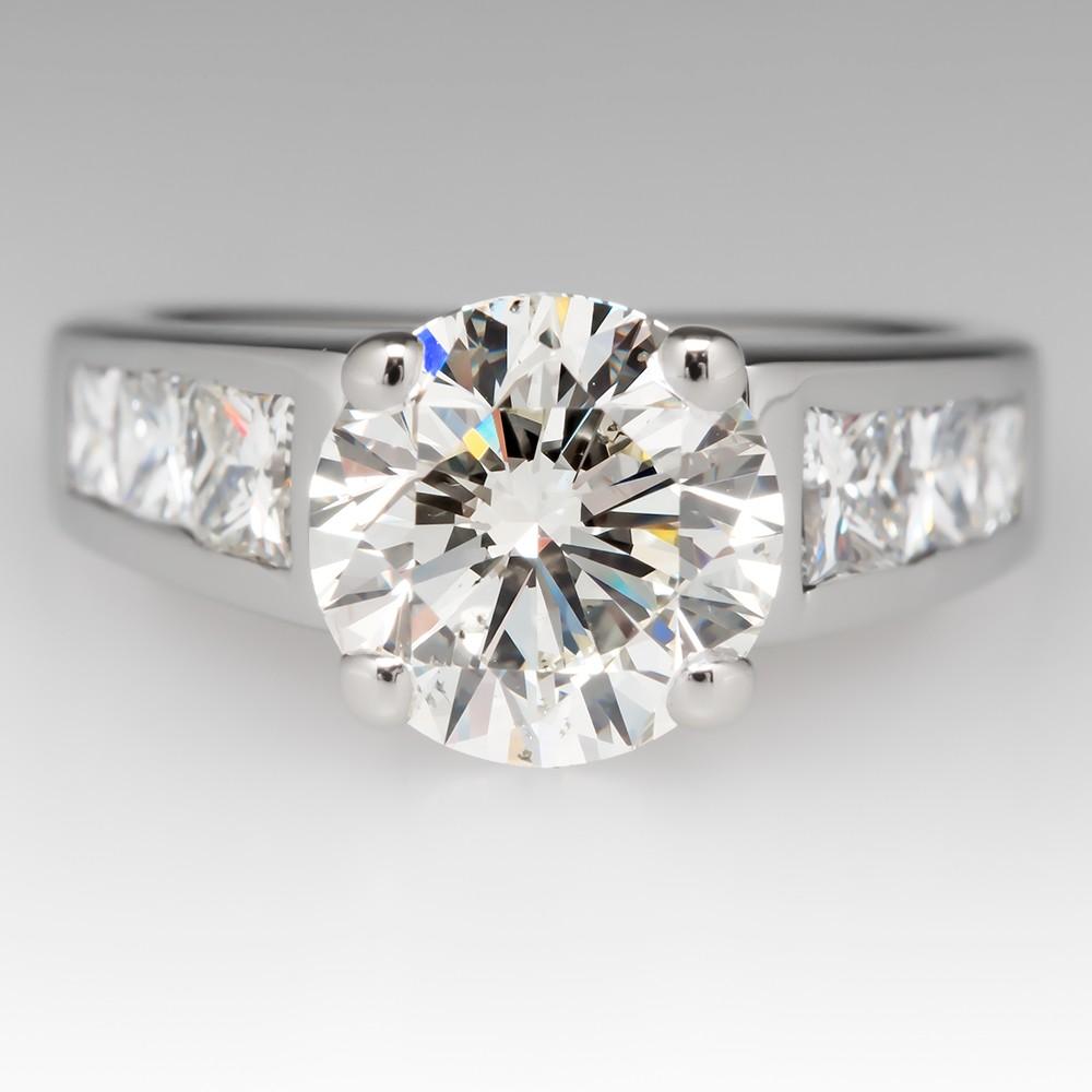 3 Carat Round Brilliant Diamond Engagement Ring Princess Cut Accents