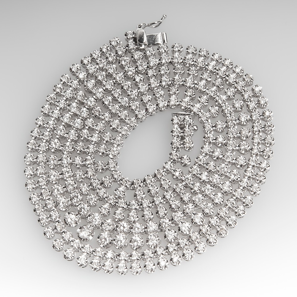 7 Carat Double Row Round Brilliant Diamond Platinum Necklace
