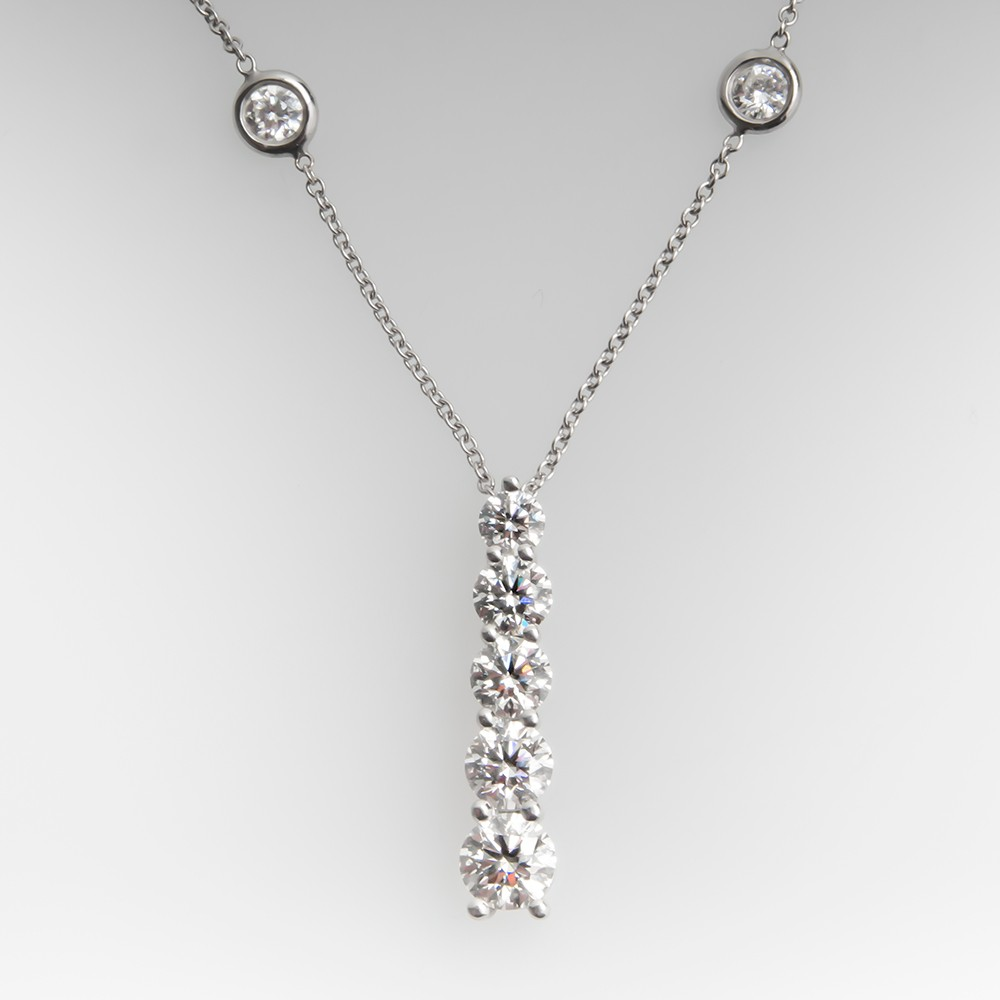Classic 5 Diamond Pendant on 20-Inch Diamond Station Necklace