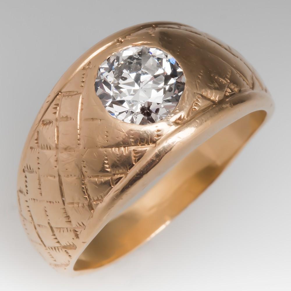 Vintage Antique Mens Ring Old European Cut Diamond 14K Gold