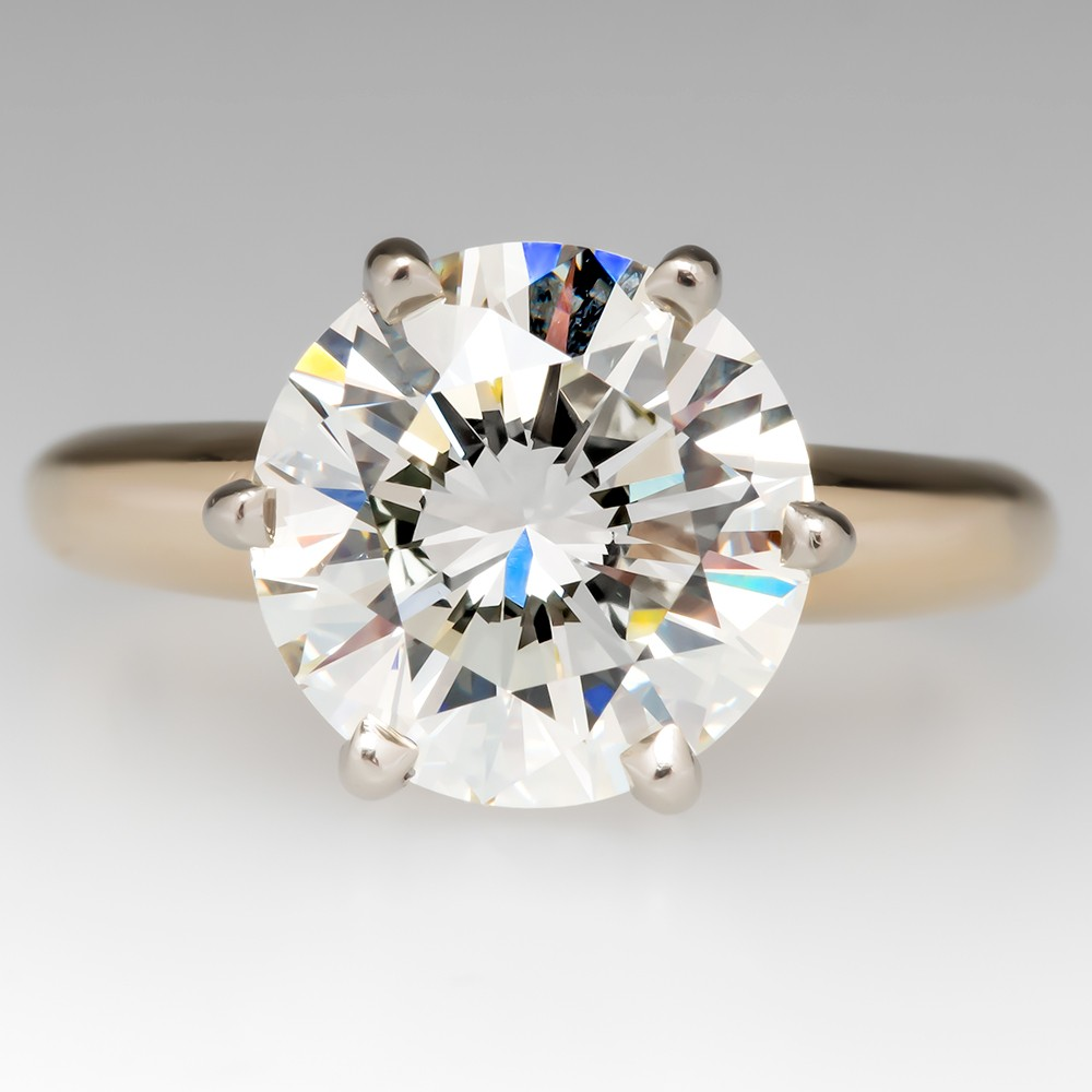 3 Carat Diamond Solitaire Engagement Ring 14K Gold Timeless