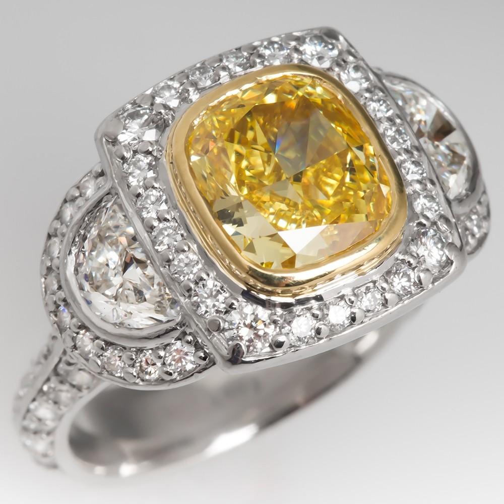 GIA 2 Carat Natural Fancy Vivid Yellow Diamond Engagement Ring