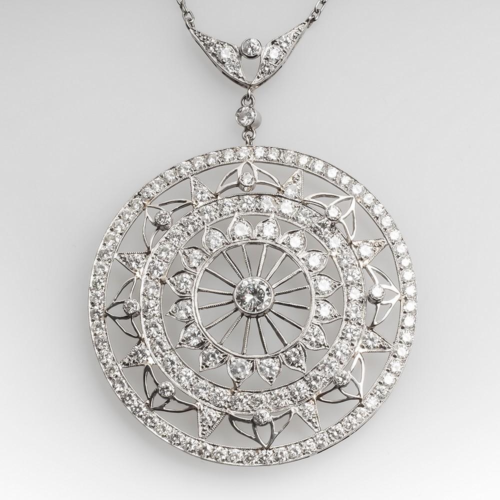 Beautiful Large Round Lace Motif Diamond Pendant Necklace Platinum