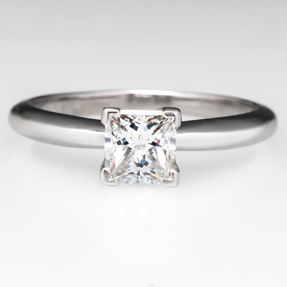 Solitaire Princess Cut D / VS2 Diamond Engagement Ring 14K White Gold