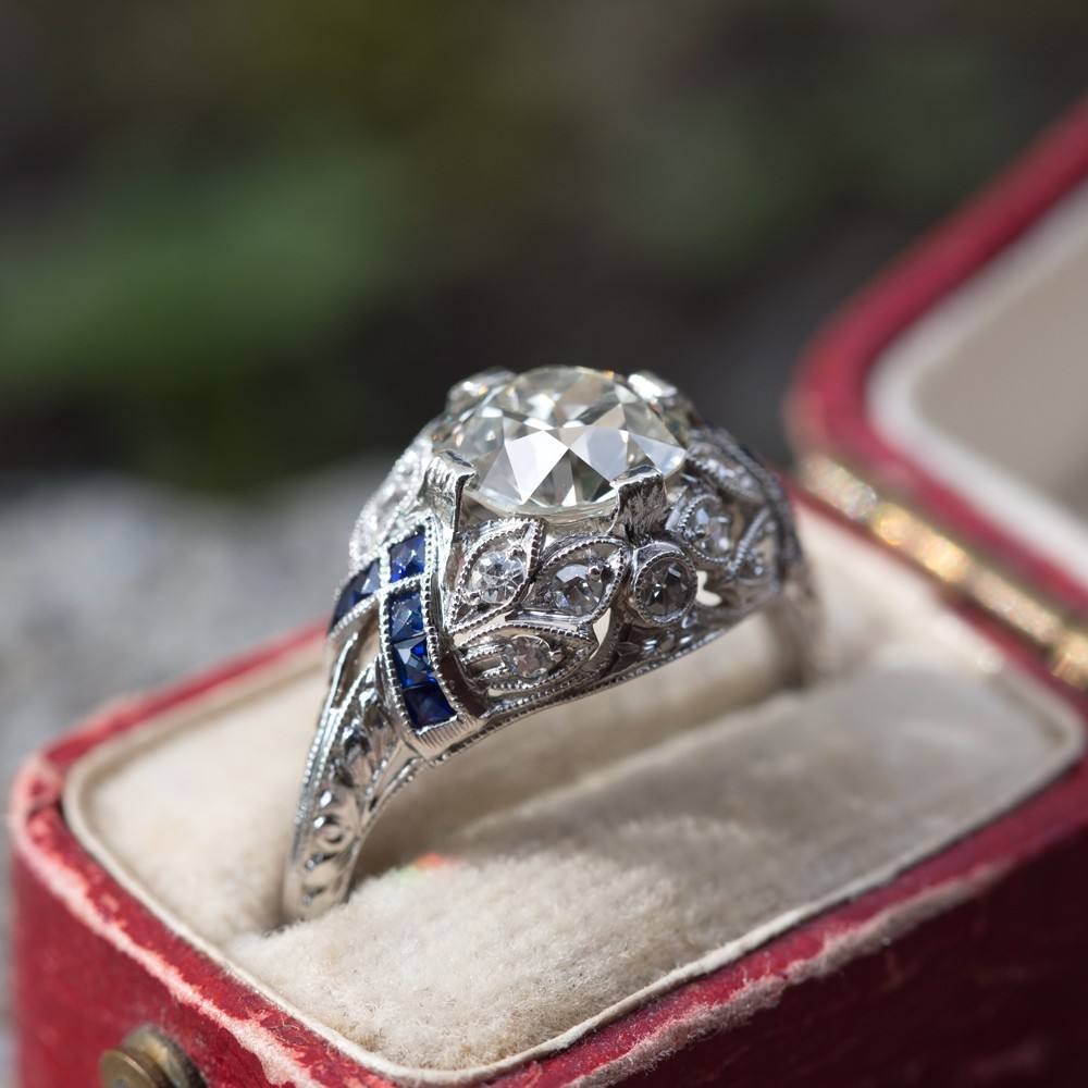Art Deco Engagement Ring Old European cut Diamond w/ Sapphires