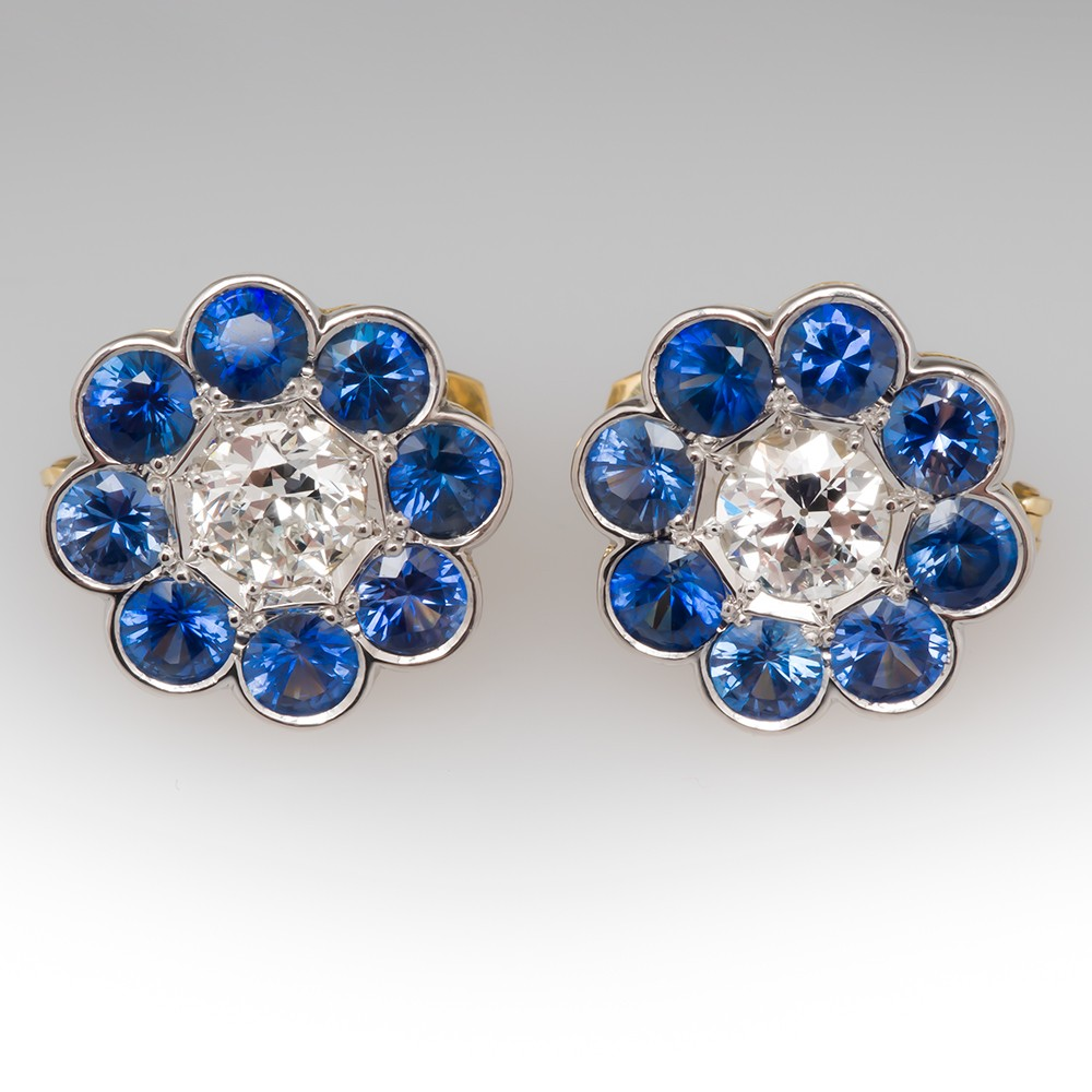 Old European Cut Diamond & Blue Sapphire Flower Earrings
