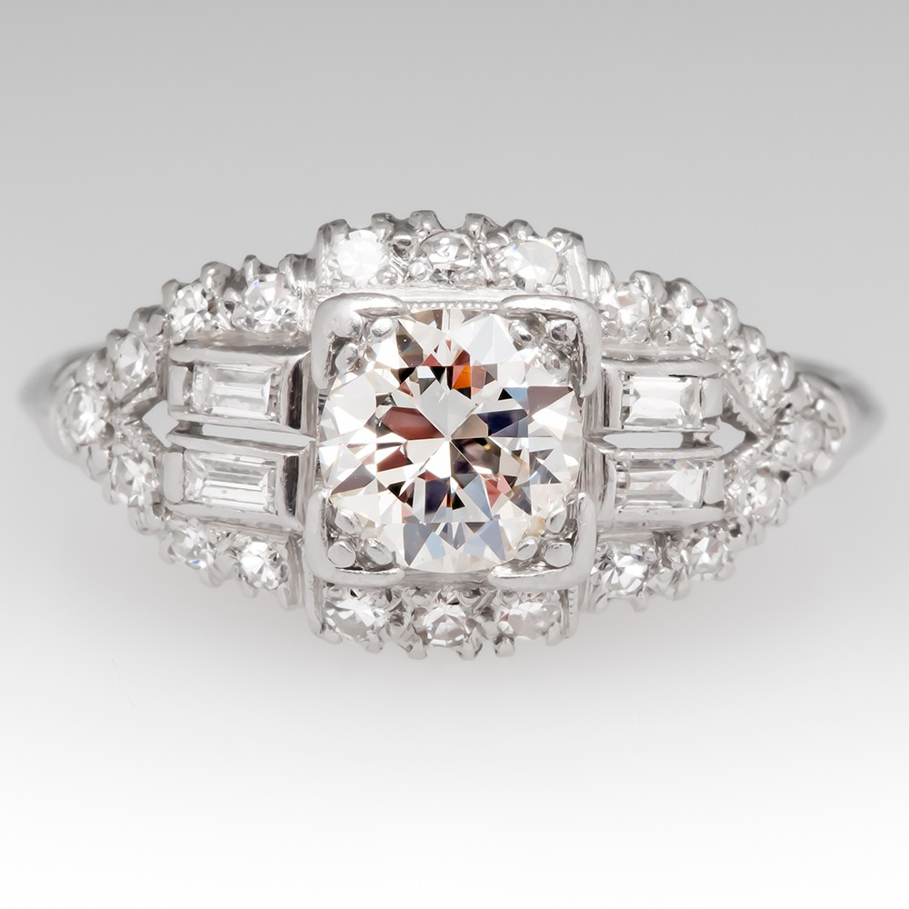 Late 1930's Art Deco Diamond Engagement Ring Transitional Cut w/ Accents