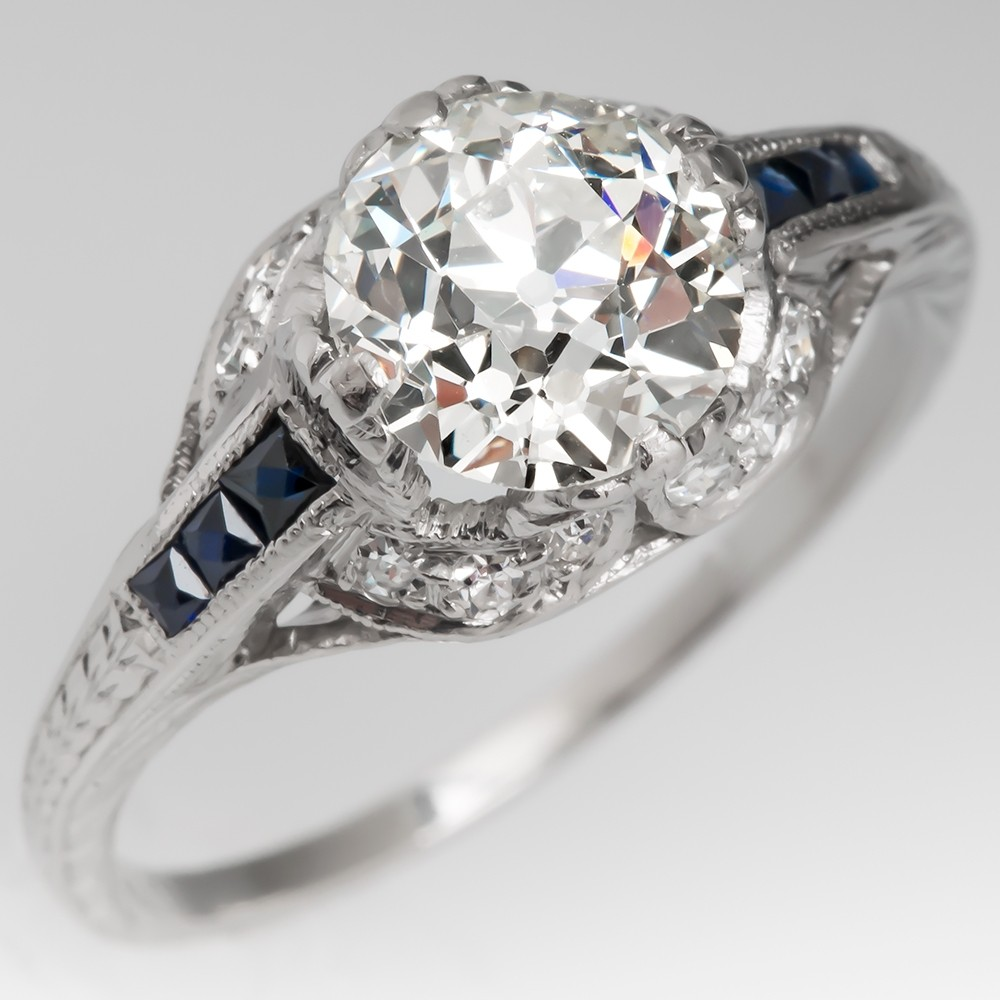1920's Antique Diamond Engagement Ring w/ Sapphire Accents Platinum