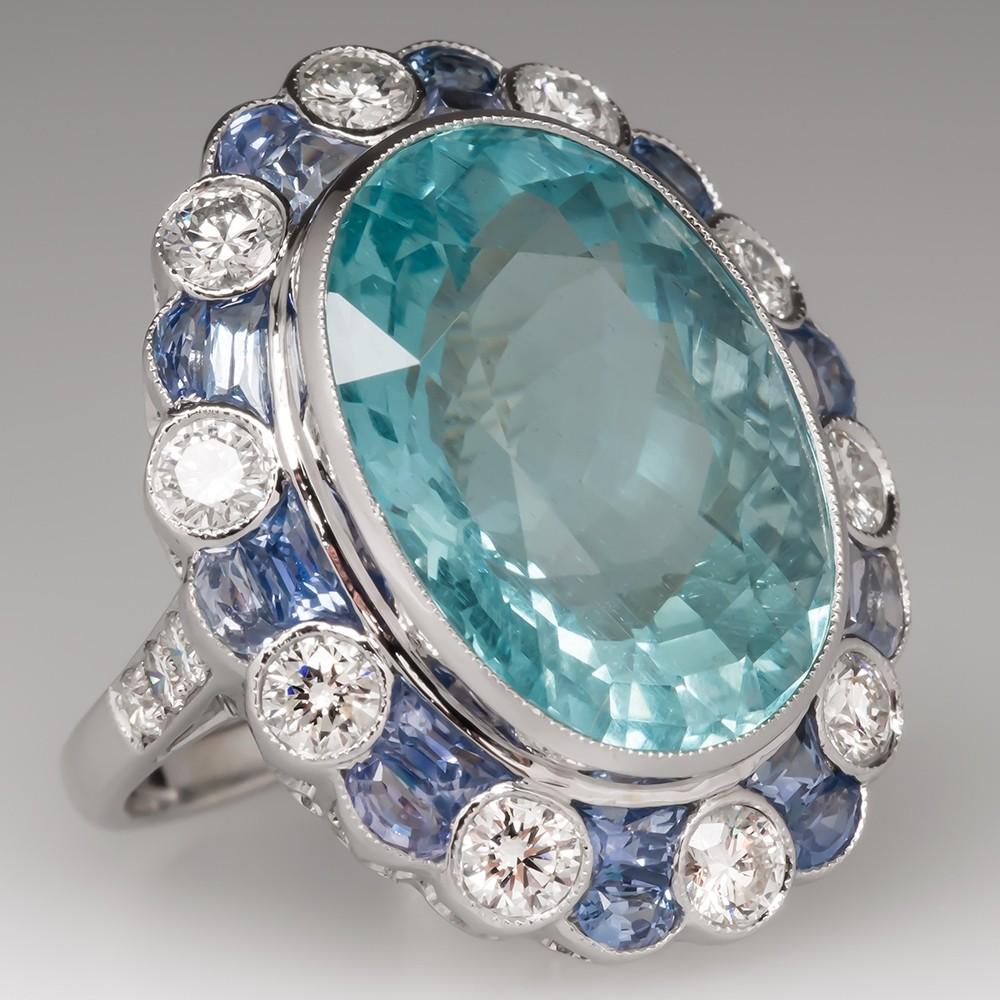 Large Aquamarine Cocktail Ring w/ Diamonds & Sapphires 18K